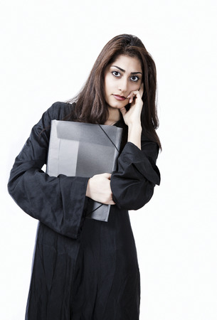 female lawyer: Female lawyer listening with serious expression