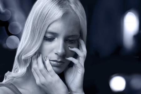 Beautiful woman sad emotions and feelings