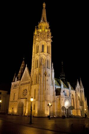 11th: Matthias Church, in Budapest, Hungary by night Stock Photo