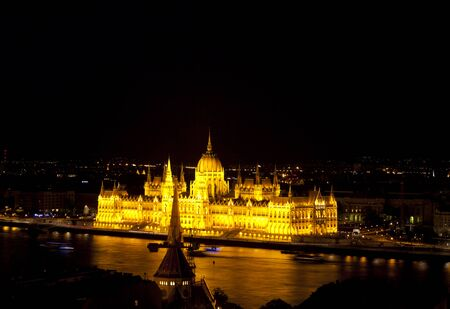 lighted: The famous Hungarian Parliament Building in Budapest, Hungary by night