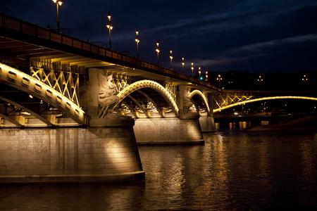 Budapest, beautiful bridge with lights on Danube river, night scene Reklamní fotografie