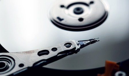 harddrive: Internals of a harddisk HDD. Stock Photo