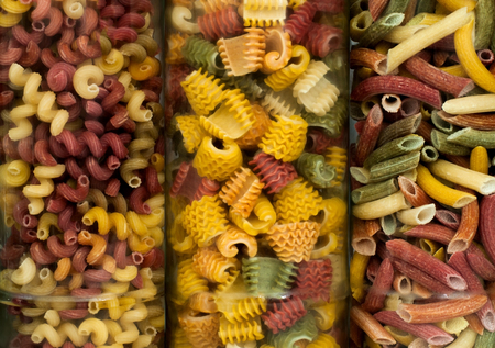 assortment of italian pasta, nine different varieties separated in a decorative box Stok Fotoğraf