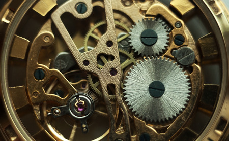 watch movement: Technology background with metal gears and cogwheels. Stock Photo