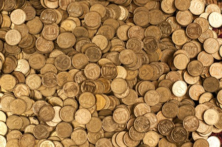Coins background. hryvnia coins. cent coins ucraine cents