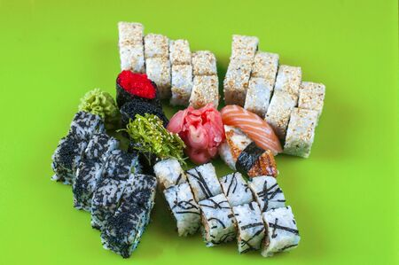 Variety of japanese sushi rolls on the table. Stok Fotoğraf