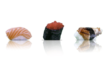 Sushi pieces collection, isolated on white background.