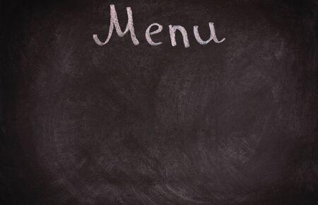 blackboard isolated: Restaurant menu board on blackboard. isolated over white background.
