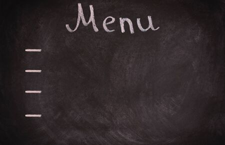 Restaurant menu board on blackboard. isolated over white background.