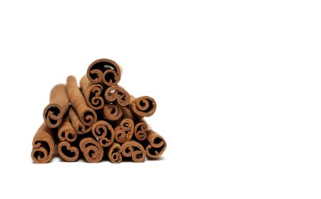 cannelle: cinnamon isolated on white background. Stock Photo