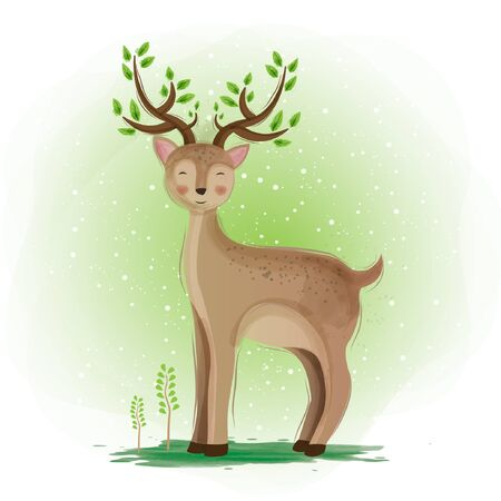 Cute deer watercolor illustration design
