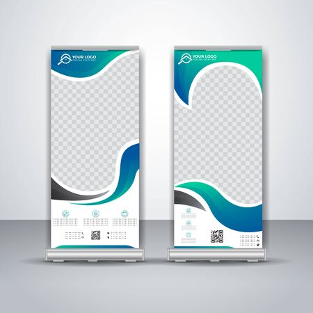 abstract cyan roll up banner business design templates Vetores