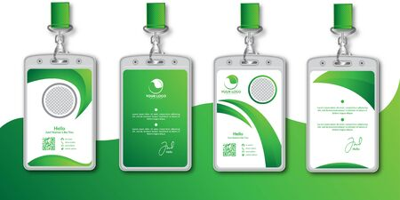 Abstract green id card design template set Ilustracja