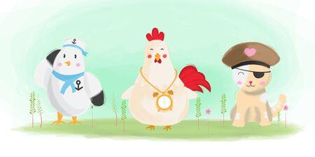 cute animals illustration bird, chicken and cat watercolor