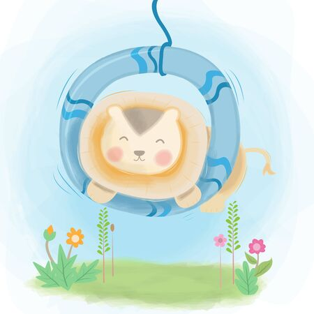 Cute lion playing swing illustration design