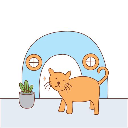 Cat alone at home illustration design - vector Illustration