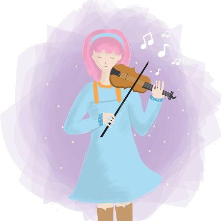 Cute girl playing a violin Reklamní fotografie - 147140965
