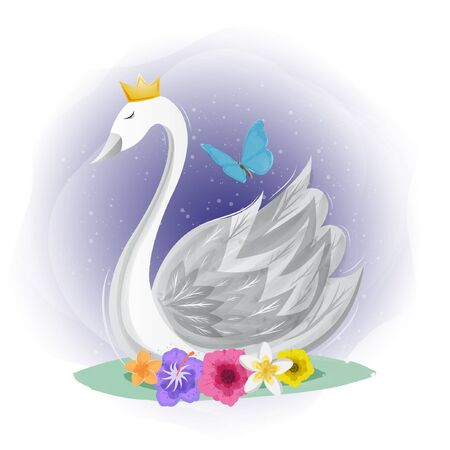 Cute swan with butterfly illustration design