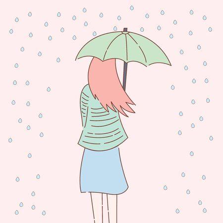Cute women and the rain illustration design - vector