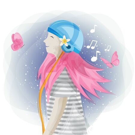 Cute women hearing music illustration design Illustration