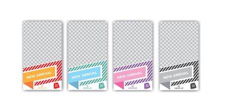 Fashion sale colorful stories design template set