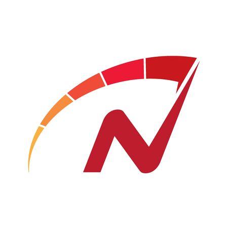 Letter N speedometer logo design