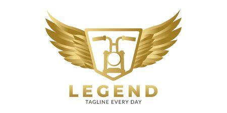 Old motorcyle wings logo design