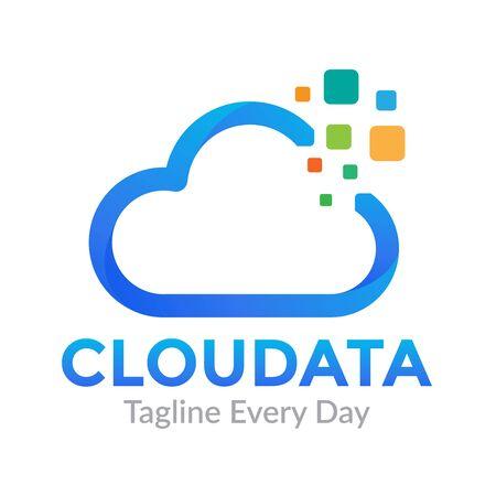 Cloud Data logo design template Vectores
