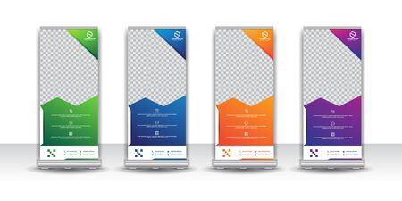 Abstract and colorful creative business roll up stand design templates