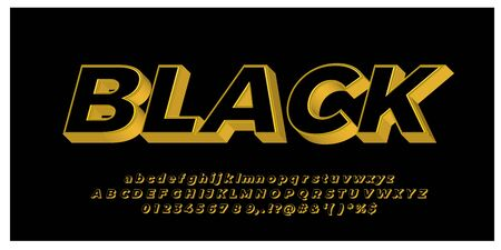 gold with black 3d font styles design templates