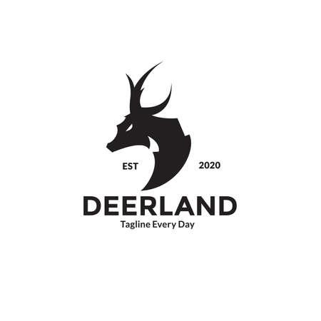Side view Deer head logo design Illusztráció
