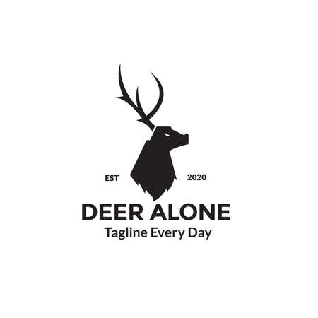 Deer head side view logo design