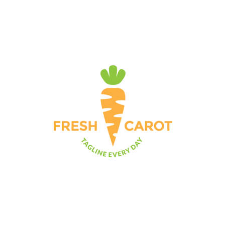 Simple carrot colorful for vegetables fresh and eyes health logo design 向量圖像