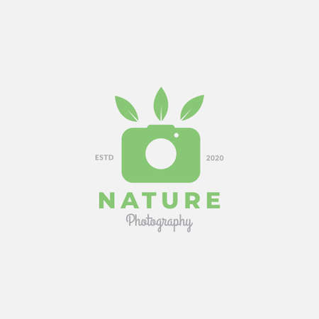 camera photography shutter with nature leaf simple modern icon logo design
