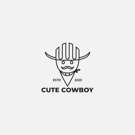 cute  line cowboy with mustache logo design