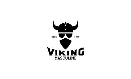 a viking head Scandinavia with mask logo design silhouette