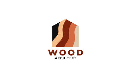 modern wood home or house or real estate or flooring or roof logo design Ilustração