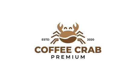 coffee beans with crab logo design illustration