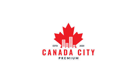 Canada maple red with city silhouette logo design Ilustração