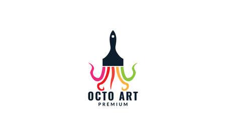 octopus tentacle with paint brush art logo design Logo