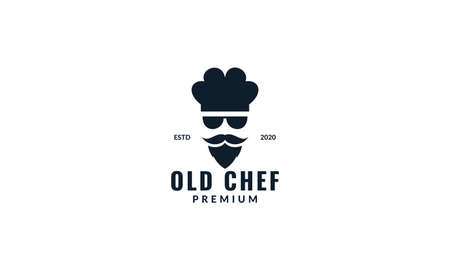 cool chef  with sunglasses modern logo design  イラスト・ベクター素材