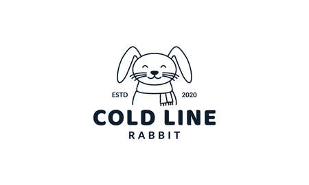 illustration cute cartoon animal rabbit with scarf simple logo icon vector