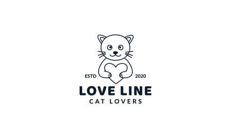 illustration cute cartoon cat kitty kitten hug heart love logo icon vector image