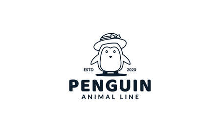 illustration cute cartoon animal penguin kids with hat line logo icon vector