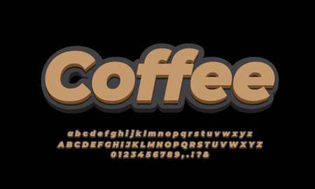 bold 3d black and brown letter number or font effect design