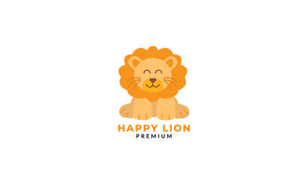lion stand cute smile cartoon flat logo icon vector illustration