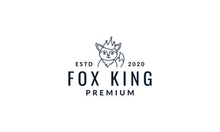 fox cute cartoon with crown line logo icon vector illustration