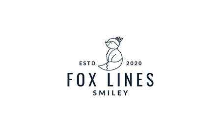 fox cute cartoon side view line logo icon vector illustration