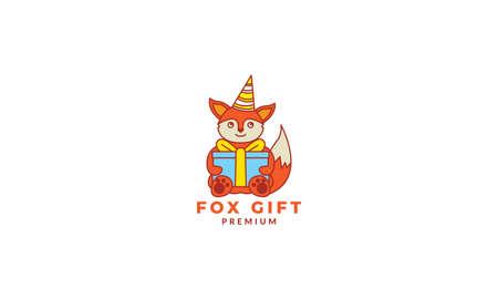 fox  smile cute  cartoon with box gift birthday  logo icon vector illustration