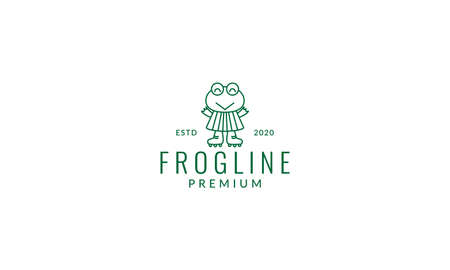 frog with shoes line 矢量图像